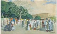 scène de marché au maroc by francois marie léon de marliave