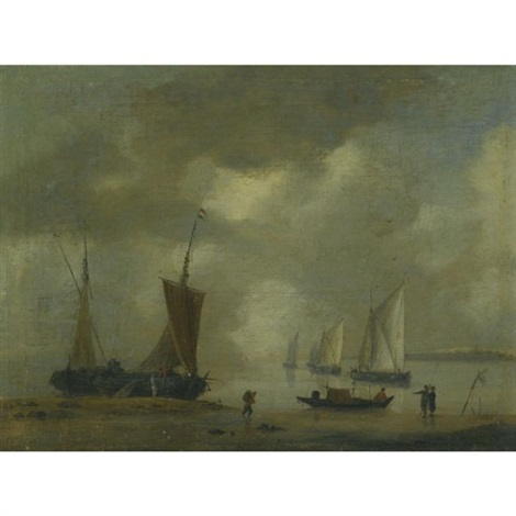 a coastal scene with dutch ships moored offshore by reinier nooms