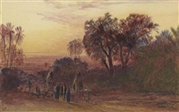 on the road by the nile, sunset by edward lear