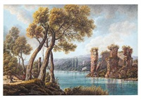 view of the lake of averno and the temple of proserpina near naples by pietro martorana