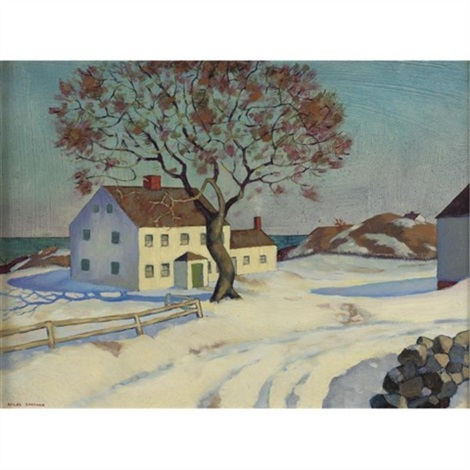 new england house in winter by niles spencer