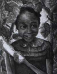 etude: girl with watermelon (artist's daughter?) by wilson bigaud