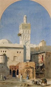 personnages devant la mosquée (alger) by alexandre-francois caminade