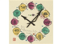 clock of twelve horary signs by shiko munakata