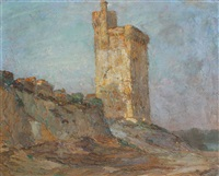 european landscape with castle by louis orr