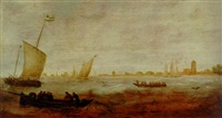 figures in a rowing boat with smalschips off a coastline by hendrick van anthonissen