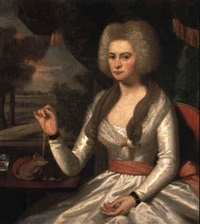 a portrait of mrs. gershom burr by ralph earl