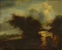 paysage avec homme au fagot et chiens sur un chemin et village en arrière-plan by gerrit van hees