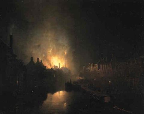 fire at the hague by petrus van schendel