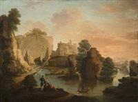 paysage de rivière animé de pêcheurs by jean henry d' arles