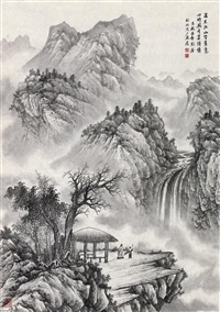 溪山观瀑 (watching waterfall) by liu guang