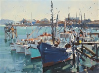fishing boats, nelson harbour by douglas badcock