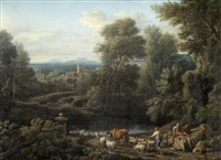 a drover and other figures by a stream in a classical landscape by john wootton