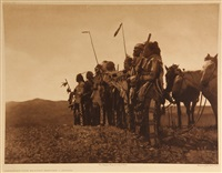 awaiting the scouts return, atsina and other works (group of 6 works) by edward sheriff curtis