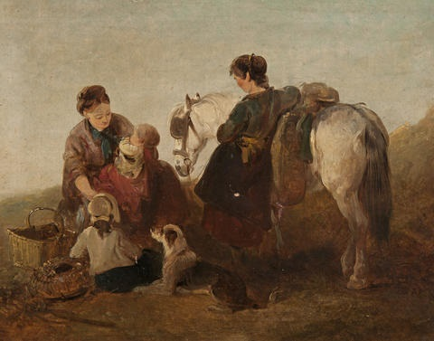 a mother with her children dog and pony by the shore by edward robert smythe