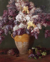 lilacs with white and yellow iris by joe anna arnett