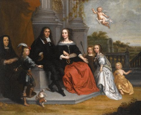 a portrait of a family within a formal garden setting the husband and wife seated beneath two fluted pillars by jan victors