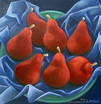 red pears on blue stark crimson by ruby ellen huston