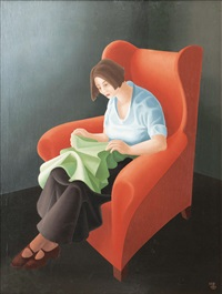 woman in a red chair by peter dülberg