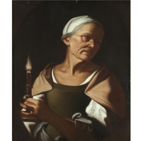 an old lady holding a candle by trophîme theophisme bigot the elder