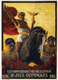 xxème anniversaire du rétablissement des jeux olympiques 1894 - 1914 by edouard elzingre