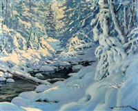 winter river and with snow-laden trees by matt lindstrom