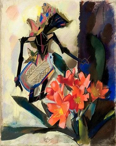 stilleben mit javanischer schattenfigur und amaryllis by otto herbig
