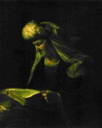 femme âgée lisant by aert de gelder