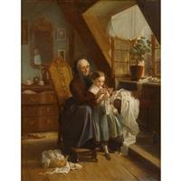 the sewing lesson by johann georg meyer von bremen