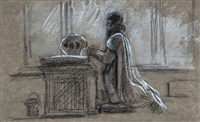 study of a figure in robes kneeling by lord frederick leighton