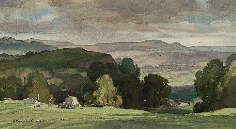 shadowed hill near yougreave derbyshire by leonard russel squirrell