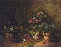 still life of flowers in pots and a basket by gustave hall