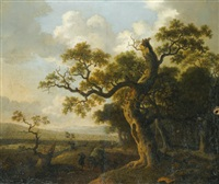 landscape with a wagon near an oak tree by barend appelman