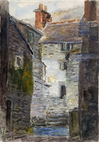 fishermen's houses, polperro by william edwin atkinson
