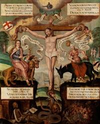 tafelbild mit darstellung des gekreuzigten und wiedergabe der allegorien ecclesia und synagoga sowie memento mori-allegorien mit zahlreichen bibelzitaten by anonymous-german (16)