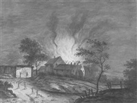 view of burning farm at night by carl sebastian von bemmel