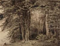 waldlandschaft, st. höckler - uetliberg by salomon corrodi