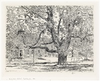 the big horse chestnut tree, easthampton by childe hassam