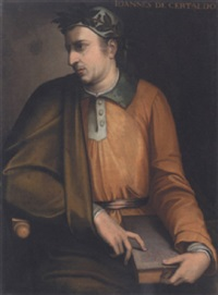 portrait of boccaccio holding a copy of the decameron by cristofano di papi dell' altissimo