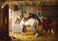 boerenjongen met werkpaarden in een stal by willem jacobus boogaard