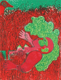 dans l'infinie verticalite de l'herbe la femme by corneille