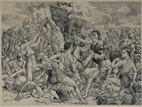 coney island beach and wooden horses by reginald marsh