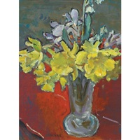 jonquils on a red table by clarence hinkle