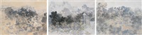 风景三联 (three paintings of landscape) (couplet) by xu fu hou