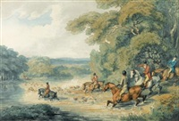 a stag hunt crossing a river by william samuel howitt