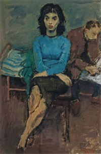 lady in a blue blouse by raphael soyer