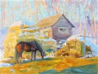 the barnyard in winter by orestes (rick) nicholas de grandmaison