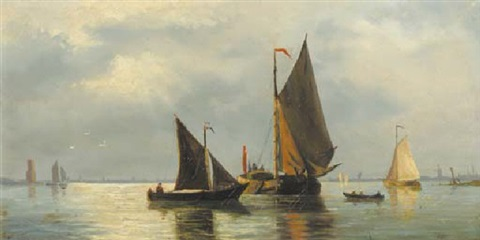 sailing barges in a calm at dusk by jacob willem gruyter