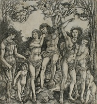 ein junger mann von amor an einen baum gebunden by cristoforo di michele robetta