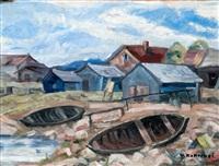 boats on the shore by vaino kamppuri